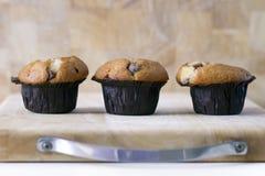 3 muffin di pepita di cioccolato su un bordo di legno Fotografie Stock Libere da Diritti