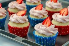 Muffin di recente al forno del mirtillo rosso in una latta del muffin immagini stock libere da diritti
