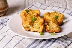 Muffin di verdure con lo zucchini ed il formaggio fotografia stock libera da diritti