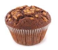 Muffin die met noten wordt bedekt Stock Afbeelding