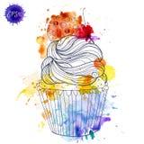 Muffin dipinto a mano della ciliegia dell'acquerello Fotografia Stock Libera da Diritti