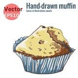 Muffin disegnato a mano, isolato su un fondo bianco Immagine Stock