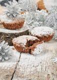 Muffin do chocolate do Natal Fotos de Stock