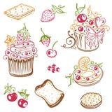 Muffin, dolci, guarnizioni di gomma piuma Fotografie Stock Libere da Diritti