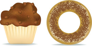 Muffin and donut. Illustration of a chocolate muffin and donut stock illustration