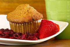 Muffin with dried and fresh fruit Stock Photos