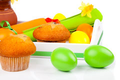 Muffin with Easter Eggs Stock Photography