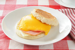 Muffin with egg and ham Royalty Free Stock Image