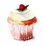 Muffin. With egg, watercolor illustration Royalty Free Stock Photo
