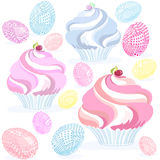 Muffin eggs pink. Easter sketch Pascal cupcake and painted eggs patchwork, vector on white background, pink, blue, yellow Royalty Free Stock Images