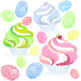 Muffin egs easter three colored stock illustration