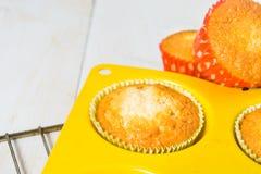 Muffin ett ögonblick sedan från den stekheta ugnen Royaltyfria Bilder