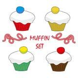 Muffin för beståndsdelar för mat för fastställd design för vektor söt Fotografering för Bildbyråer