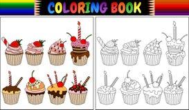Muffin för färgläggningbok med stearinljus och frukter vektor illustrationer