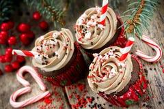 Muffin för jul och för nytt år - chokladkakor med kräm, sp Royaltyfri Bild
