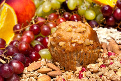 Muffin and fruit breakfast setting Royalty Free Stock Photos