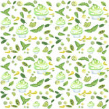 muffin green seamless. Illustration of a watercolor seamless pattern of cake and cream and berries, mint leaves, lemon and lime slices, in green and yellow on a Royalty Free Stock Images