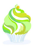 Muffin green yellow. Stylized vector cupcake with cream and whipped cream, delicious, sweet and sour, mint, aromatic, in corrugated paper in green yellow color Stock Photos