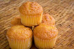 Muffin on handcraft bamboo weave Stock Photo
