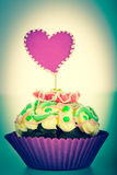 Muffin with heart Royalty Free Stock Photography