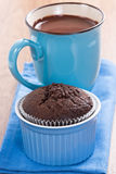 Muffin and hot chocolate Stock Images