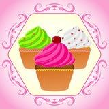 Muffin i rosa färgram royaltyfria foton