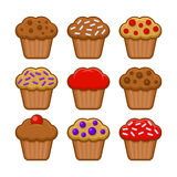 Muffin-Ikonen-Satz Blaubeere, Schokolade und Cherry Cupcake Vektor stock abbildung