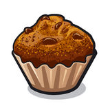 Muffin. Illustration of sweet fresh muffin with raisins royalty free illustration