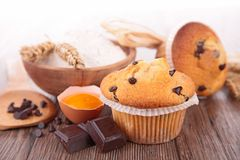 Muffin and ingredient Royalty Free Stock Images