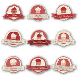 Muffin labels. Vector illustration of different labels with muffin Stock Photos