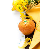 Muffin with lemon, zest and flowers Stock Photos