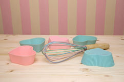 Muffin Liners and Egg Whisk Stock Photography