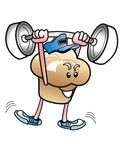 Muffin man Weight Lifter. Stock Photo