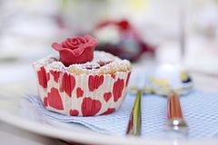 Muffin with marchpane rose Royalty Free Stock Images