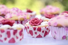 Muffin with marchpane rose Royalty Free Stock Image