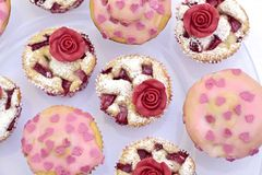 Muffin with marchpane rose Royalty Free Stock Photos