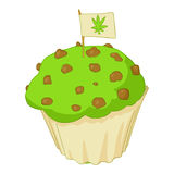 Muffin with marijuana icon, cartoon style Royalty Free Stock Images