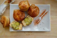 Muffin med broccoli Arkivbilder