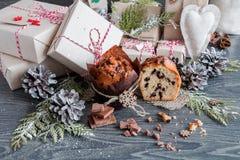 Muffin med chokladgåvor och kottar Arkivfoton