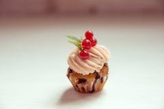 Muffin med den kräm- och röda vinbäret Kakor med kräm- och vit cu Royaltyfri Bild