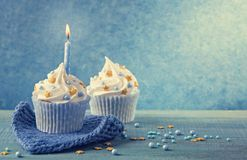 Muffin med en blå stearinljus royaltyfri foto
