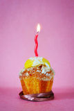 Muffin med en brinnande stearinljus Royaltyfri Foto