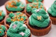 Muffin med gräsplankräm Royaltyfri Foto