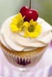 Muffin med körsbär och blomman Arkivbild