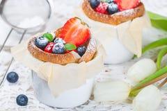 Muffin med keso och nya jordgubbar Fotografering för Bildbyråer