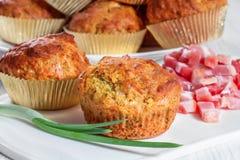 Muffin med ost fotografering för bildbyråer