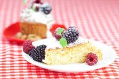 Muffin med piskad kräm och cake med isläggning Arkivbild