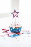 Muffin med stjärnan på amerikansk självständighetsdagen Arkivfoto