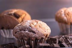 Muffin med stycken av mörk choklad Arkivfoto