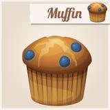 Muffin mit Blaubeere Ausführliche Vektor-Ikone Lizenzfreies Stockbild